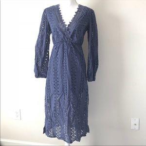 Bardot Lace Up Dress 4 XS Alexa Dusty Blue Eyelet